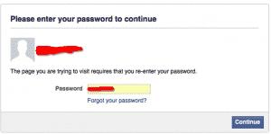Facebook enter your password