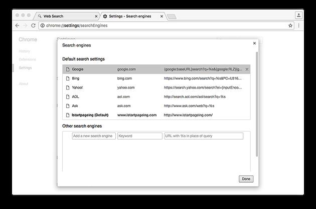 restore chrome search engine