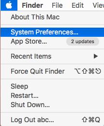 system preferences menu